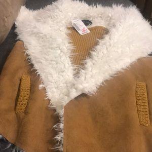 """Faux fur vest, """"suede"""" front, sweater back"""
